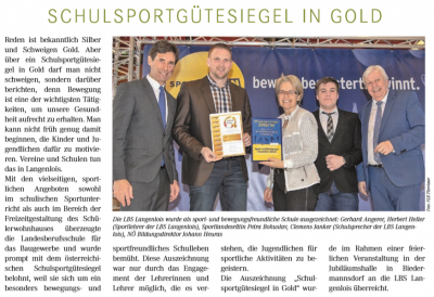 Sportgütesiegel in Gold